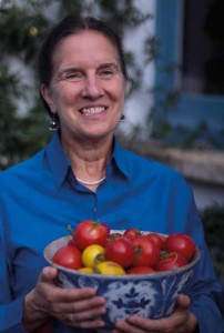 Lucy Robinson with produce from her own garden
