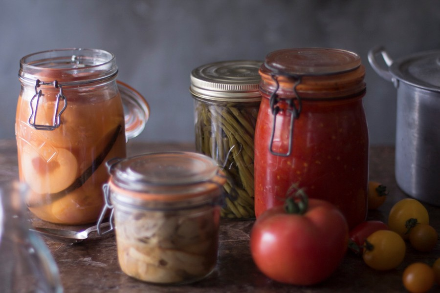 Delicious jars of perserved fruits and vegetables - the grain-free vegetarian