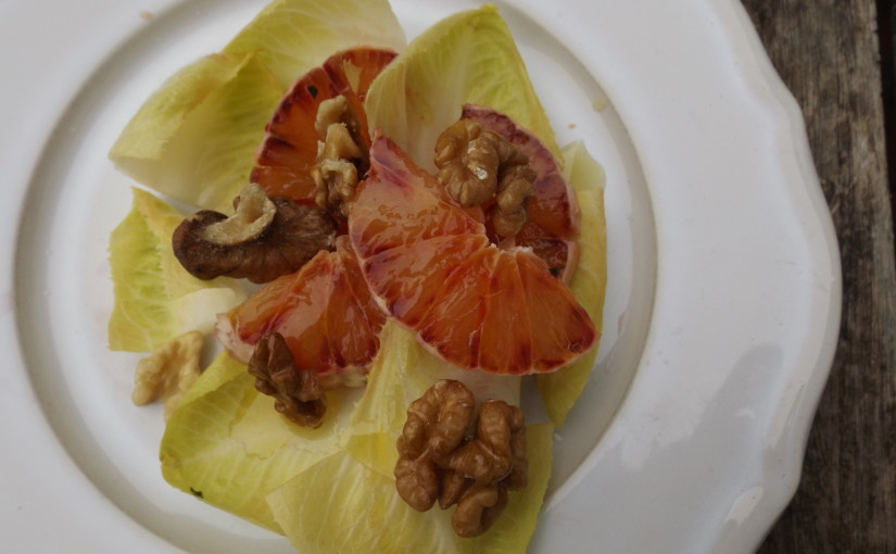 chicory, orange and walnut salad